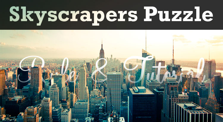 eye catch image for rule and tutorial of skyscrapers puzzle